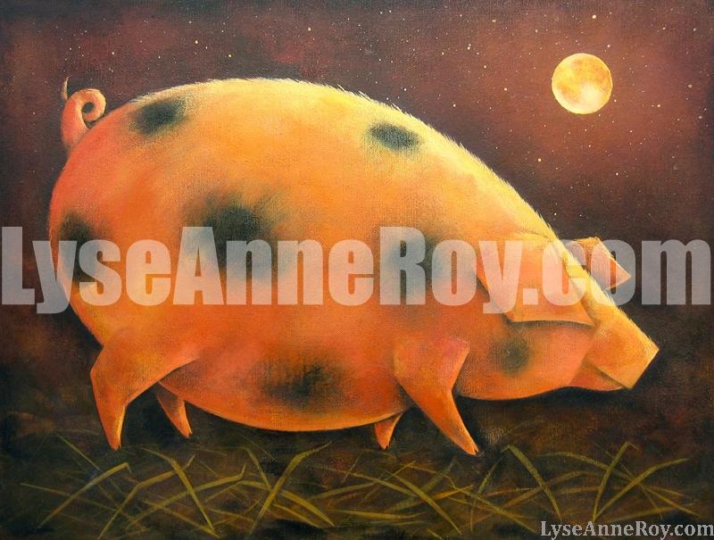 Cochon et couché de soleil